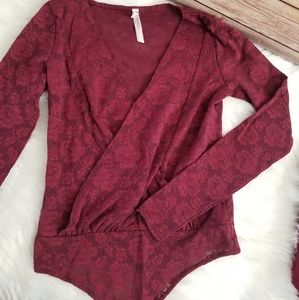 Free People Red Lace Long Sleeve Body Suit